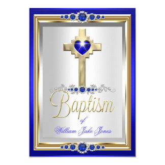 Baptism Christening Boys or Girls Cross Blue Pearl Card