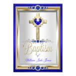 Baptism Christening Boys or Girls Cross Blue Pearl 5x7 Paper Invitation Card