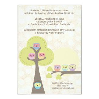 Baptism Christening Ceremony Cute Owls Invitation