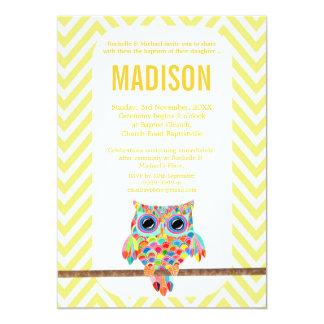 "Baptism Christening Chevron Rainbow Owl Invite 5"" X 7"" Invitation Card"