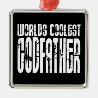 Baptism Christening Gifts Worlds Coolest Godfather Square Metal Christmas Ornament