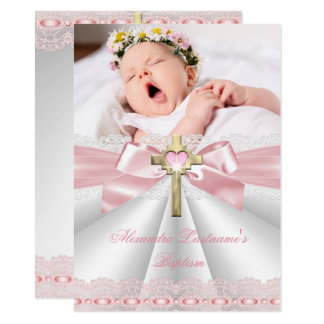 Baptism Christening Gold Cross Girls Pink 2 Card