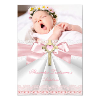 Baptism Christening Gold Cross Girls Pink 2 Card