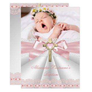 Baptism Christening Gold Cross Girls Pink 2 Invitation