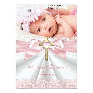 Baptism Christening Gold Cross Girls Pink Card