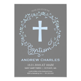 Baptism, Christening Invitation - Baby Boy Invite