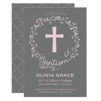 Baptism Christening Invitation - Baby Girl Invite