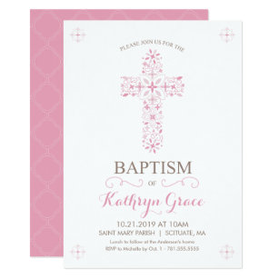 Baptism, Christening Invitation, Baby Girls Invite