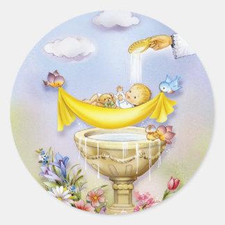 Baptism, christening invitation classic round sticker