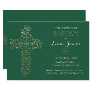 Baptism, Christening Invitation, Gold Cross Invite