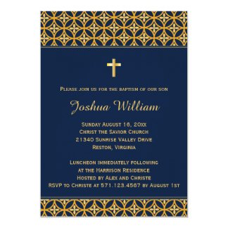 Baptism Christening Invitation Navy Blue Gold