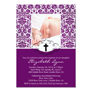 Baptism Christening Invitations Photo Purple Damas