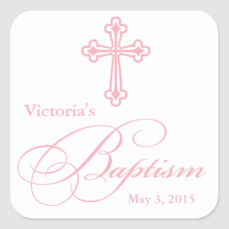 Baptism Christening Party Favor Label Name Tags Square Sticker