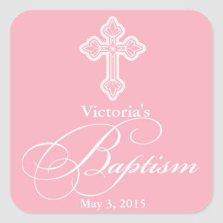 Baptism Christening Party Favor Labels Tags Square Sticker