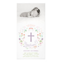 Baptism, Christening Photo Card Invitation - Girl