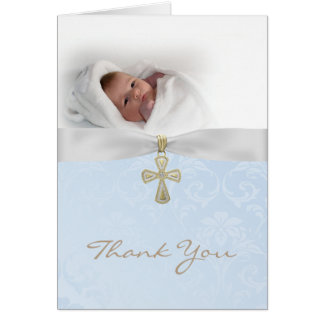 Baptism Christening Photo Thank You Card for a Boy
