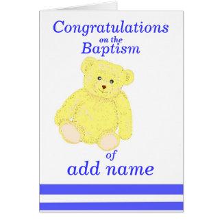 Baptism congratulations card Boy name front
