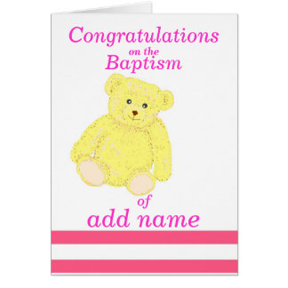 Baptism congratulations card Girl name front
