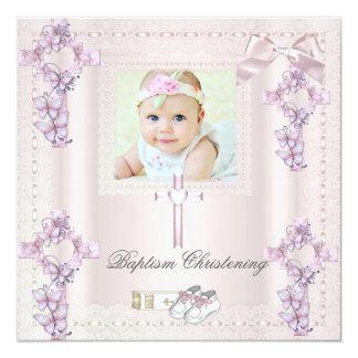 Baptism Cream Pink Cross Girl Photo christening Card