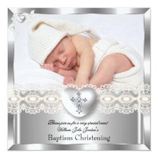 Baptism Cream Silver Photo Heart Cross Boy Girl 2 5.25x5.25 Square Paper Invitation Card