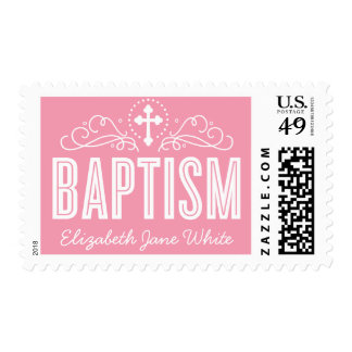 BAPTISM CUSTOM elegant swirls pretty girly pink Postage