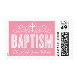 BAPTISM CUSTOM elegant swirls pretty girly pink Postage