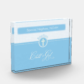 Baptism, Custom Name, Blue Child of God Acrylic Award