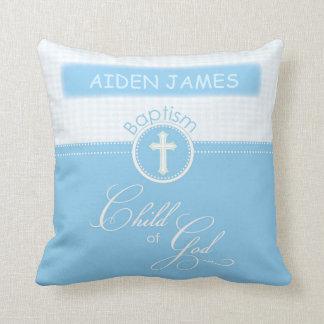 Baptism, Custom Name, Blue Child of God Throw Pillow