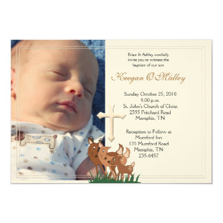 Baptism Dedication 5x7 Photo Deer Family Invite