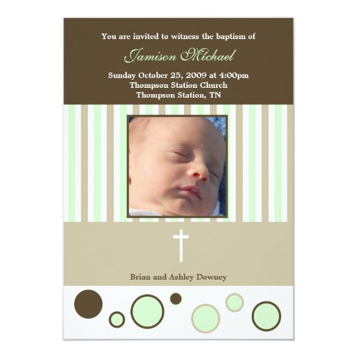 Baptism Dedication Boy Tan Brown Bubbles Card