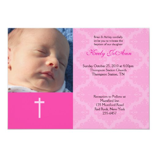Baptism Dedication Girl Pink 5x7 Damask Photo Card