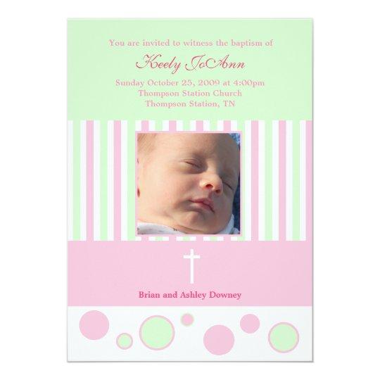 Baptism Dedication Girl Pink Green Bubbles Card
