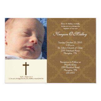 Baptism Dedication Tan/Cream 5x7 Damask Photo Card