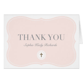 Baptism faux foil thank you card