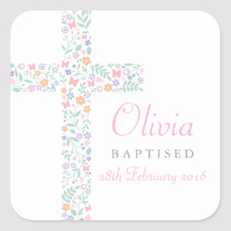 Baptism Favor Sticker | Floral Cross