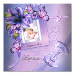 Baptism Girl Pink Purple Photo Christening 5.25x5.25 Square Paper Invitation Card