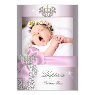 Baptism Girl Pink White Lace Photo Christening Card