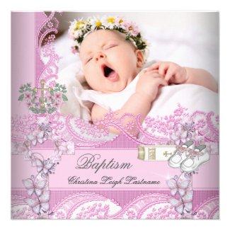 Baptism Girl Pink White Photo Christening Custom Invitation