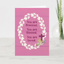 Baptism Girl Precious Blessed and Loved on Pink Card