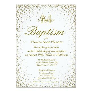 Baptism | Gold Confetti 5x7 Paper Invitation Card