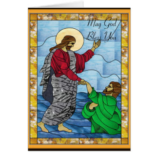 Baptism in Stained Glass Card