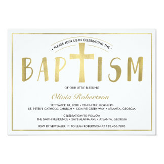 Baptism Invitation, Contemporary, Faux Gold Card