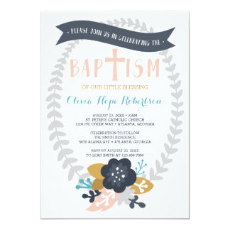 Baptism Invitation, Floral, Contemporary Baptism Card
