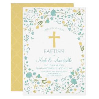 Baptism Invitation - Gender Neutral Cross, Flowers