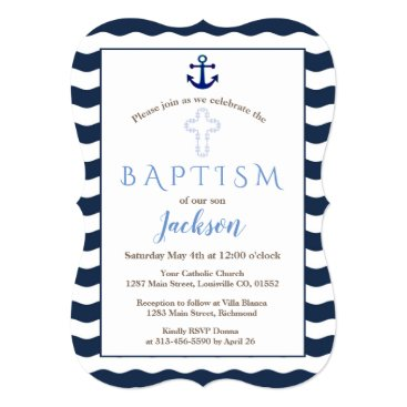 Beach Themed Baptism Invitation | Nautical Navy Waves Anchor