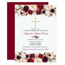 Baptism Invitation Watercolor Floral Baptism Card