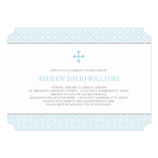 Baptism Invitations for Baby Boy | Blue Pattern | Zazzle