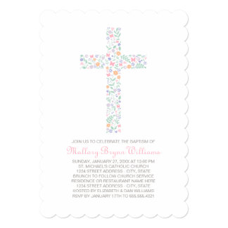 Baptism Invitations for Baby Girl | Floral Cross