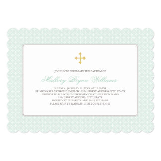 """Baptism Invitations   Mint Gold Cross Pattern 5"""" X 7"""" Invitation Card"""