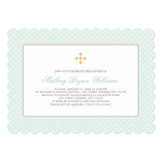 Baptism Invitations | Mint Gold Cross Pattern